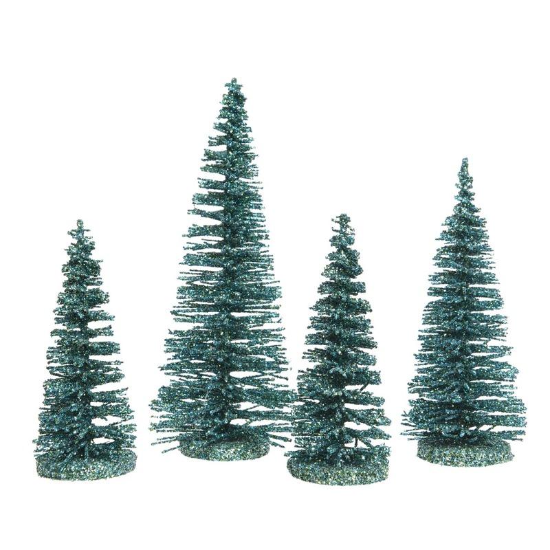 Smaragd kleine groene kunst kerstboom glitter 15 cm 4 stuks