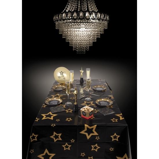 Tafelkleed, zwart, met, gouden, sterren, x mass, , kerst