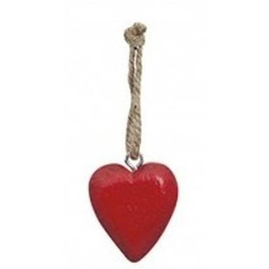 Valentijn - Rood hartje aan touwtje 5 cm