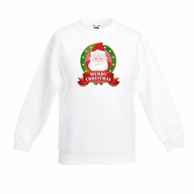 Wit Kerst sweater voor kinderen met Kerstman print
