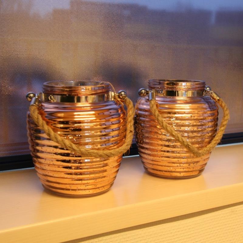Woondecoratie vensterbank lantaarns koper 2 stuks n for Woondecoratie vensterbank