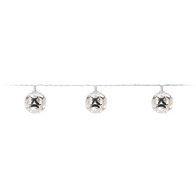 Zilveren kerstverlichting LED ballen aan snoer 130 cm