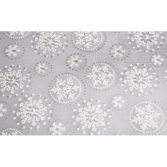 Zilveren, tafelloper, sneeuwvlok, met, glitters, kerstboom, , kerstman
