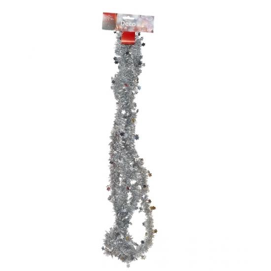 Zilveren tinsel slinger met sterren 270 cm