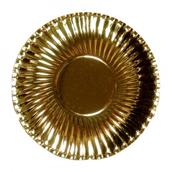 10x Platte kartonnen bordjes metallic goud 23 cm