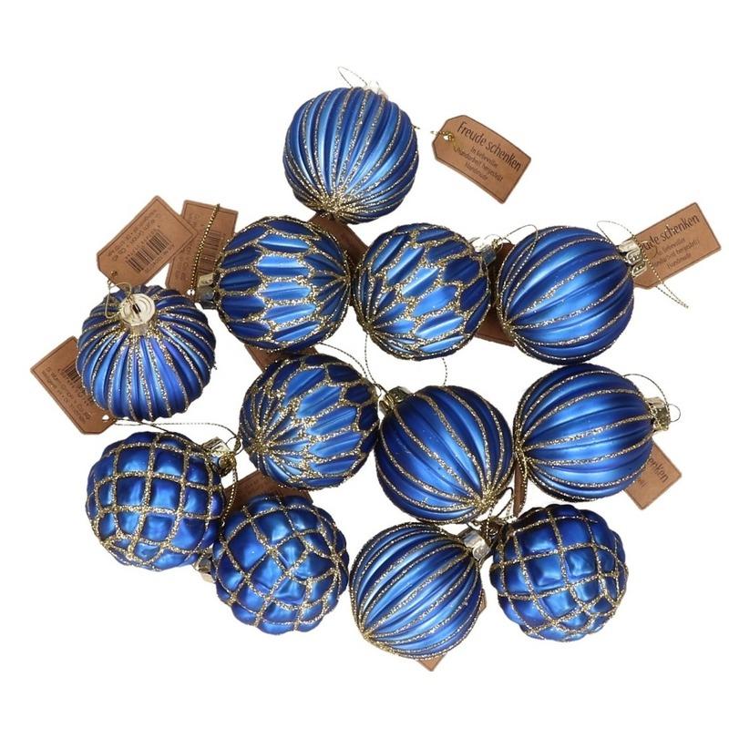 12x Blauwe luxe glazen kerstballen met gouden decoratie 8 cm