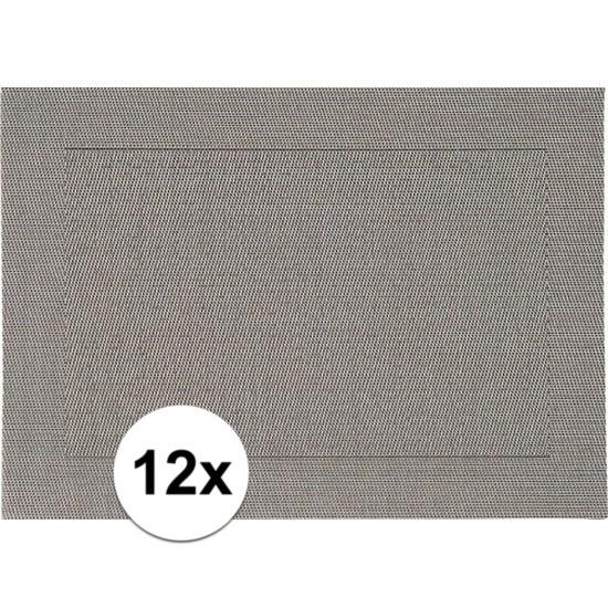 12x Placemats grijs geweven/gevlochten met rand 45 x 30 cm