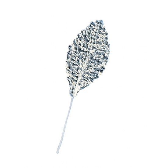 12x stuks decoratie brokaat bladeren/blaadjes zilver