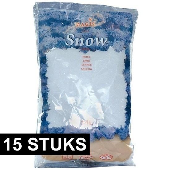 15x Zakken kunst sneeuwvlokken 4 liter