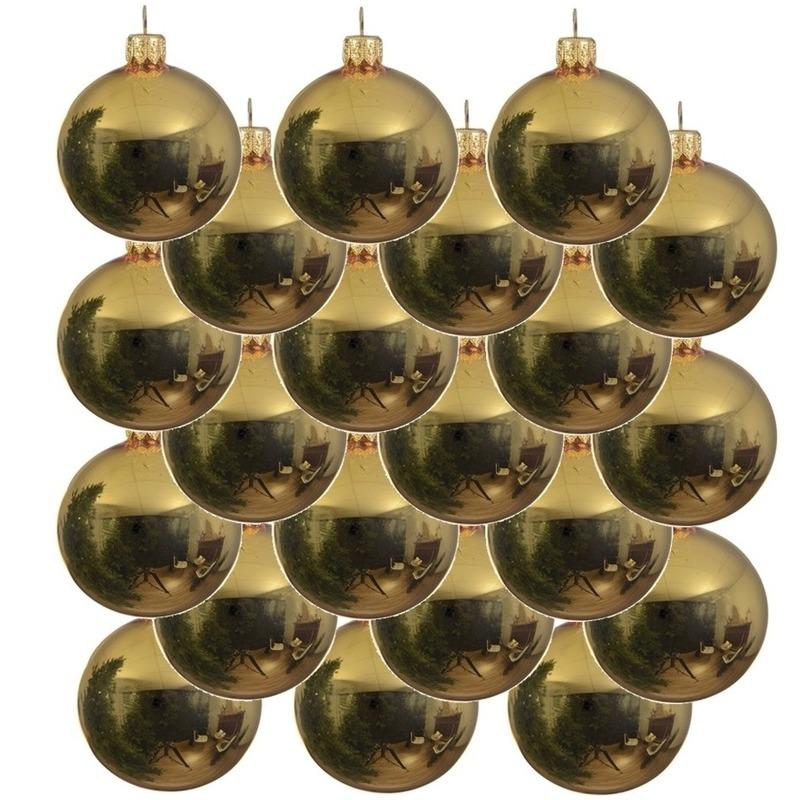 18x Gouden glazen kerstballen 6 cm glans