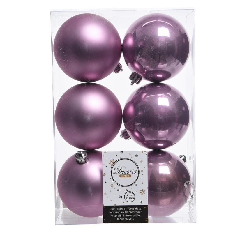 18x Lila paarse kerstversiering kerstballen kunststof 8 cm