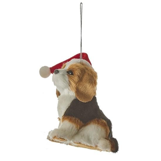 1x Kersthangers figuurtjes Beagle hond 11,5 cm