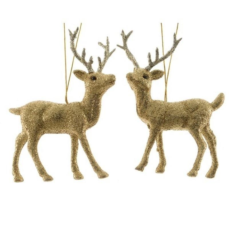 1x Kersthangers figuurtjes hert goud met glitters 12 cm