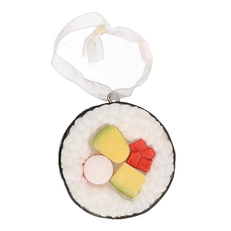 1x Kersthangers figuurtjes Sushi zwart 5 cm