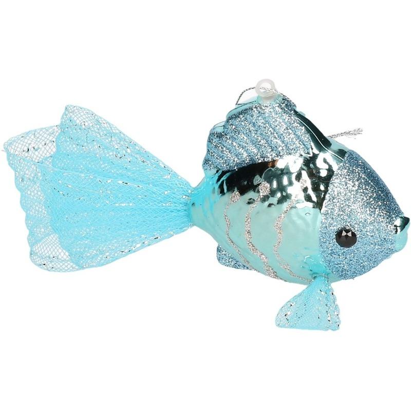 1x Kersthangers figuurtjes vis lichtblauw 8 cm