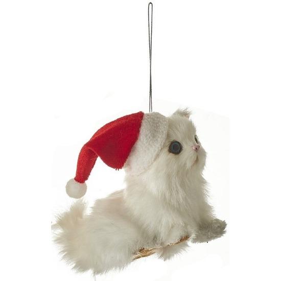 1x Kersthangers figuurtjes witte kat/poes 12 cm