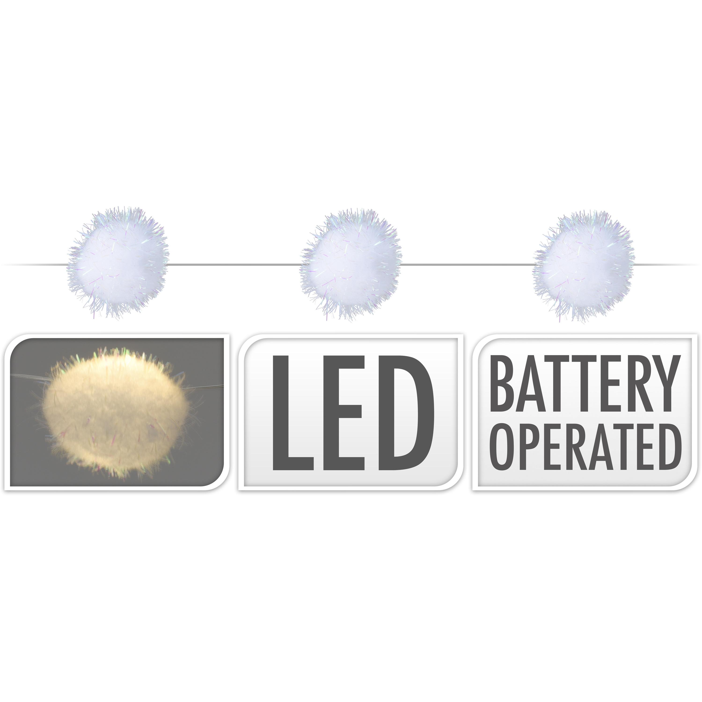 1x LED lichtsnoeren met 20 sneeuwballen lampjes van 2,5 cm op batterijen
