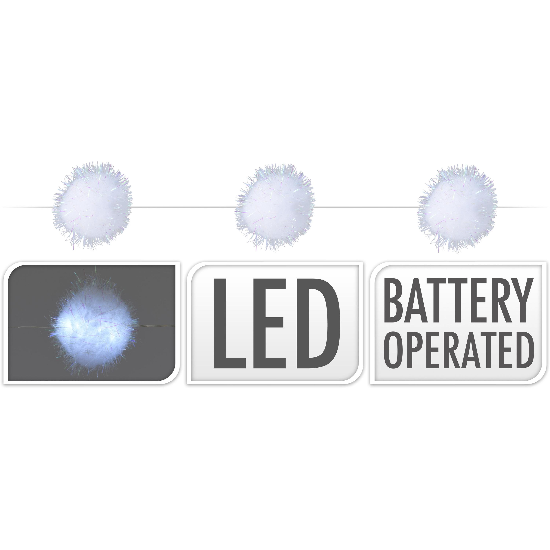 1x LED lichtsnoeren met 20 sneeuwballen lampjes van 5 cm op batterijen