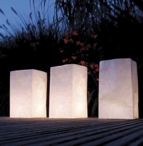 20x Candle Bags set blanco 26 cm