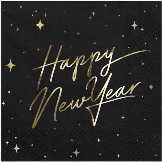 20x Nieuwjaar Happy New Year servetten zwart/goud 33 x 33 cm