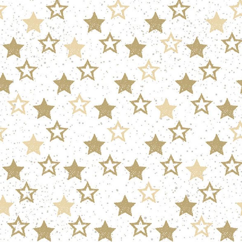 20x Servetten met gouden sterretjes 33 x 33 cm