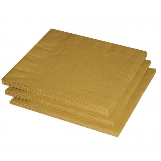20x stuks Gouden kleuren thema servetten 33 x 33 cm