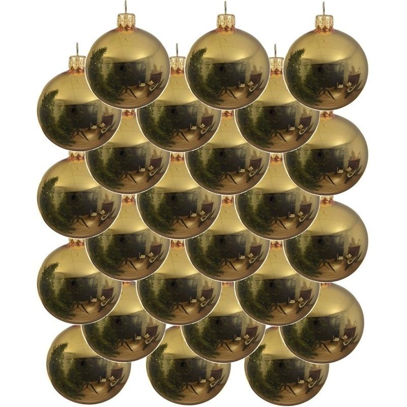 24x Gouden glazen kerstballen 6 cm glans