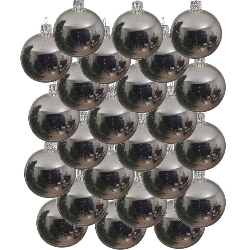 24x Zilveren glazen kerstballen 6 cm glans