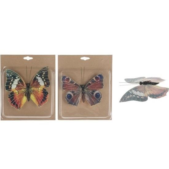 2x Decoratie vlinders op clip 17 cm