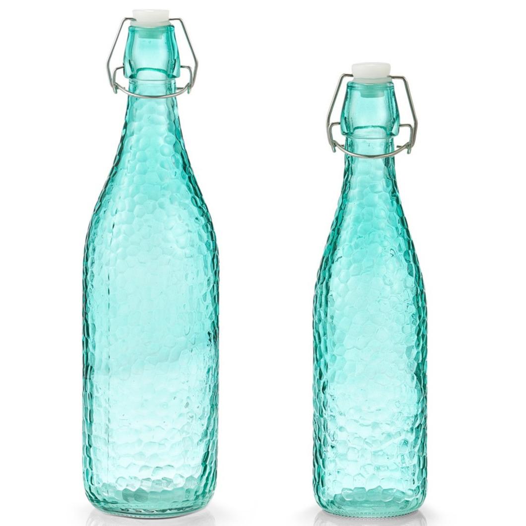 2x Glazen flessen aqua blauw met beugeldop 500 ml en 1000 ml