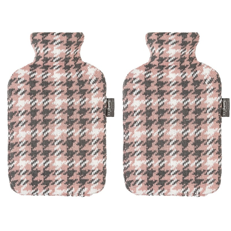 2x Grijze/roze/witte kruik met Pied-de-poule patroon 2 liter
