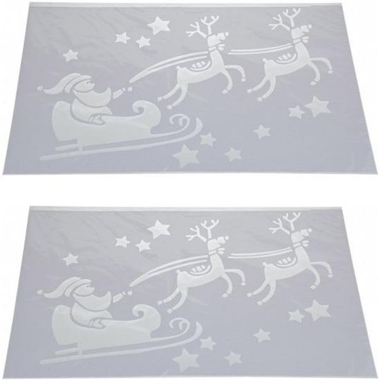 2x Kerst raamsjablonen/raamdecoratie Kerstman in slee 54 cm