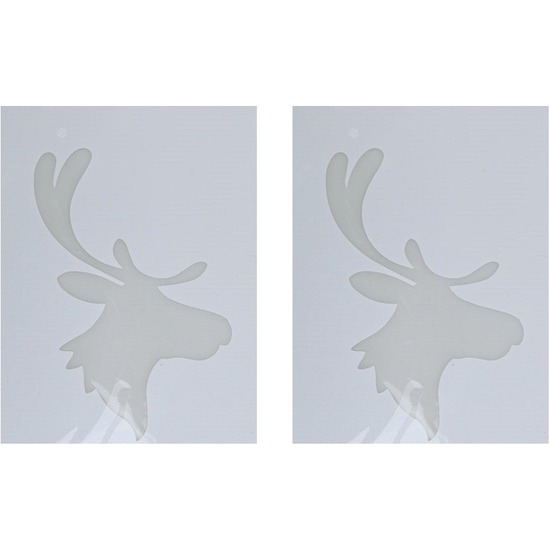2x Kerst raamsjablonen/raamdecoratie rendierhoofd plaatjes 35 cm