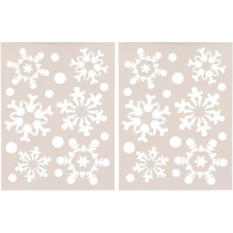 2x Kerst raamsjablonen/raamdecoratie sneeuwvlokken plaatje 30 cm