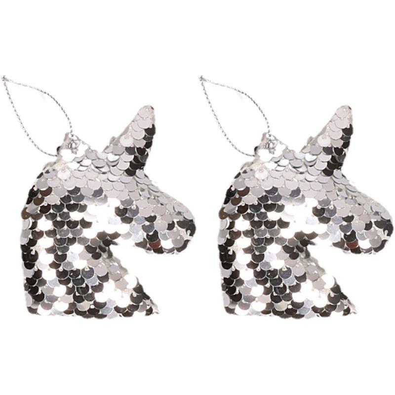 2x Kersthangers figuurtjes eenhoorn zilver met pailletten 7 cm