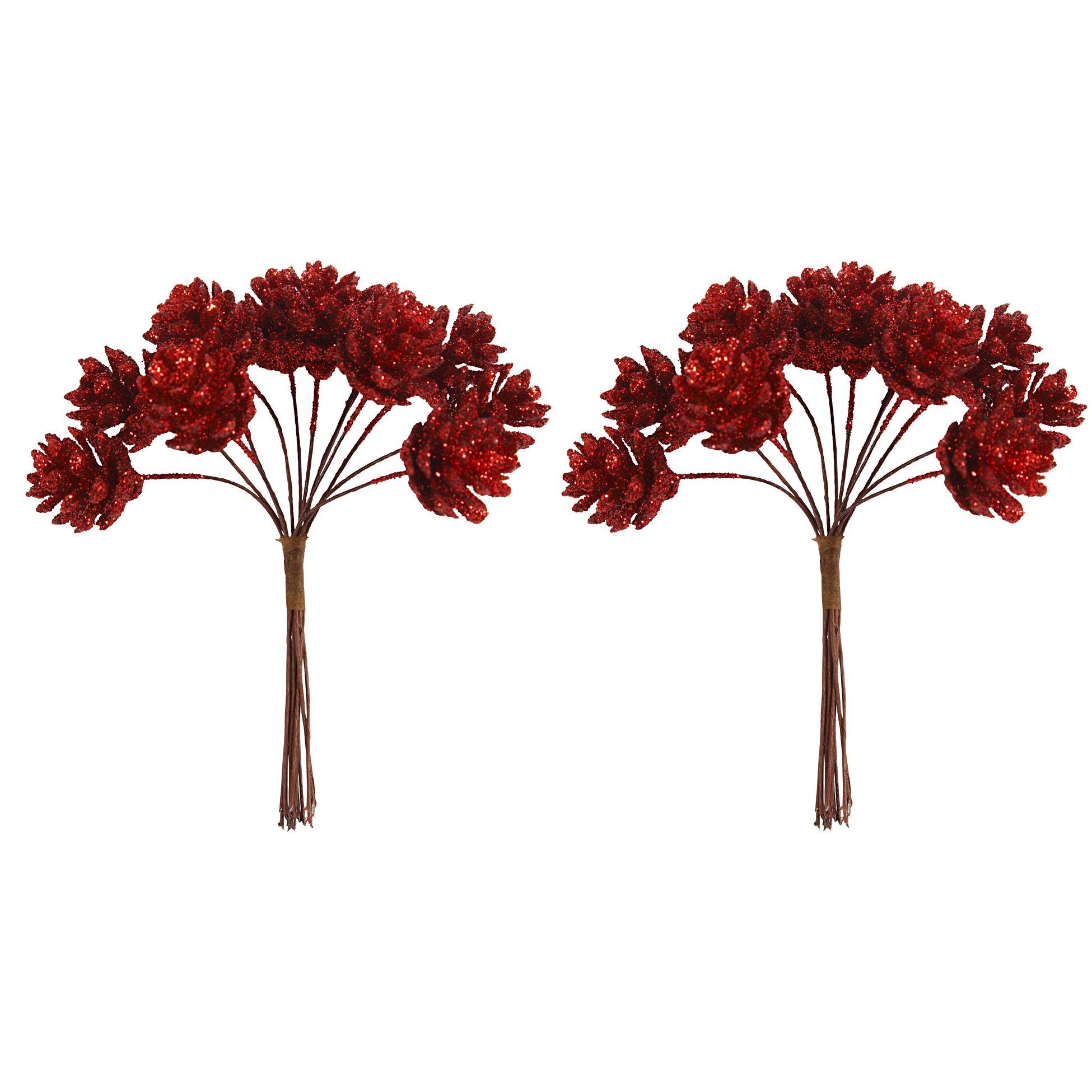 2x Kerststukje instekers bosje van 12 rode dennenappels op draad
