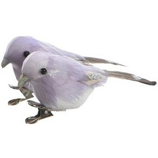 2x Lila vogels kerstversiering clip decoraties 4 cm