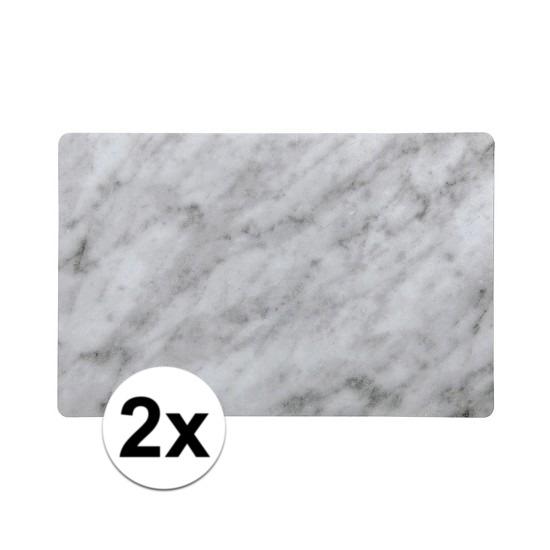 2x Placemat marmer grijs kunststof 43 x 28 cm