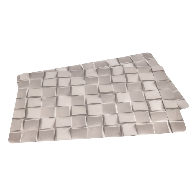 2x Placemats grijze steen print 45 cm
