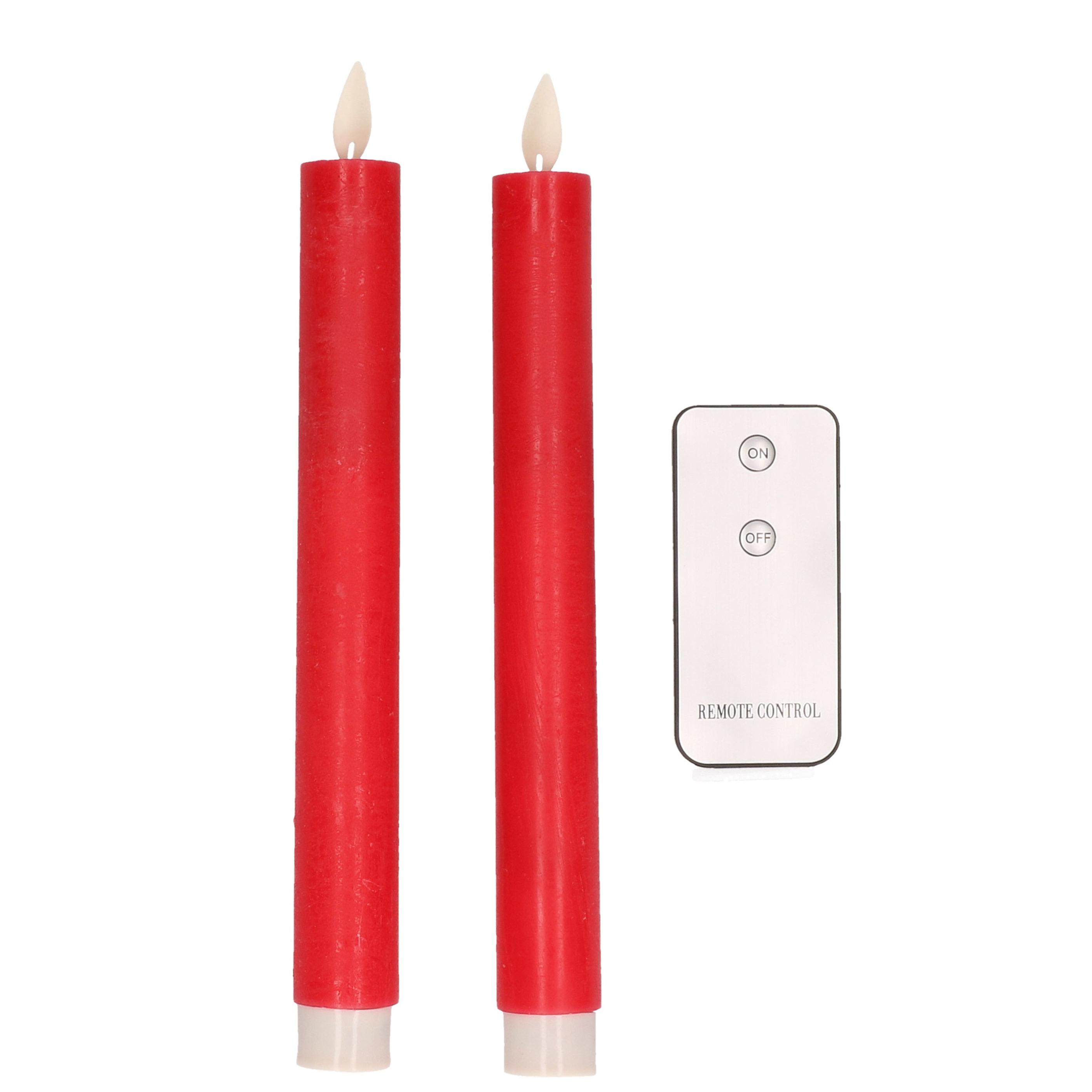 2x Rode LED kaarsen-dinerkaarsen op afstandsbediening 23 cm