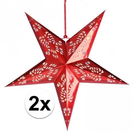 2x stuks decoratie sterren lampionnen rood van 60 cm