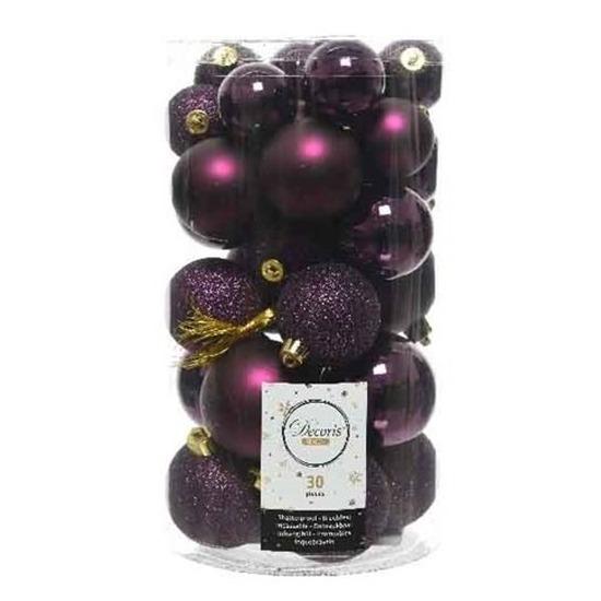 30x Aubergine paarse kerstballen 4 - 5 - 6 cm kunststof