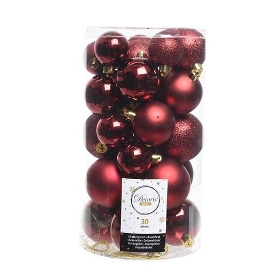 30x Donkerrode kerstballen 4 - 5 - 6 cm kunststof