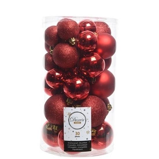 30x Rode kerstballen 4 - 5 - 6 cm kunststof mat/glans/glitter