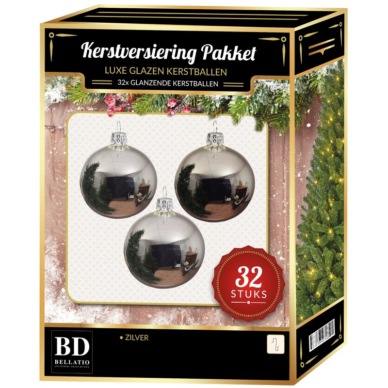 32 Stuks glans glazen Kerstballen pakket zilver 6 - 8 - 10 cm