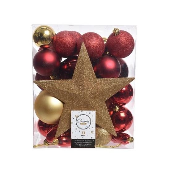 33x Gouden Rode Kerstballen Met Ster Piek 5 6 8 Cm Kunststof Mix