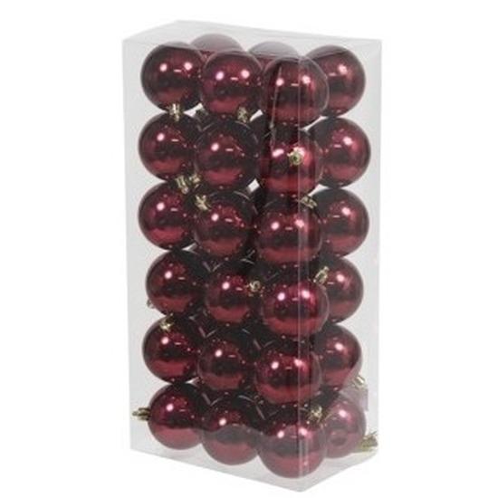 36x Bordeaux rode kerstballen 6 cm kunststof glans