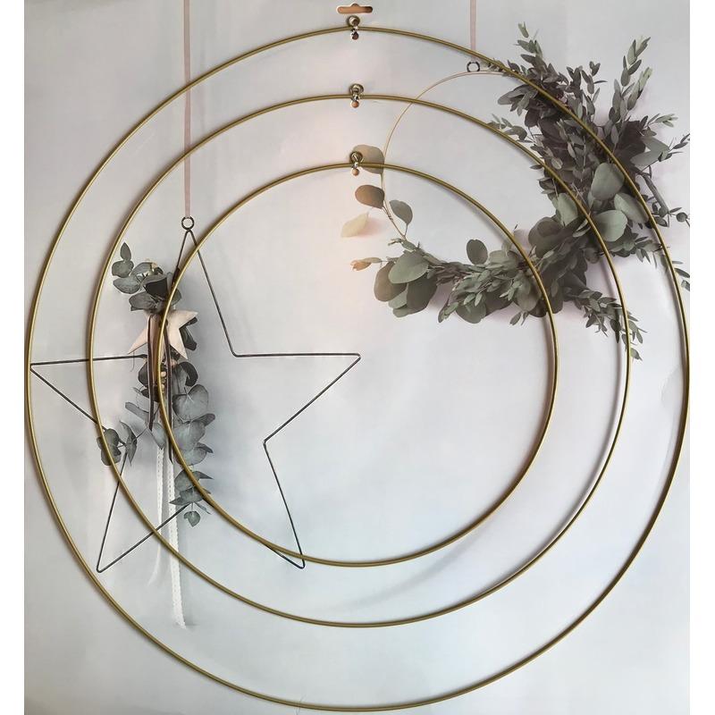 3x DIY ronde eucalyptus/bloemen krans/hangers goud set van ijzer