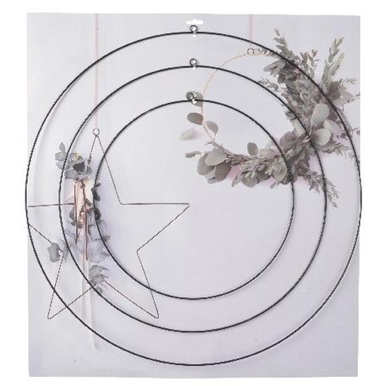 3x DIY ronde eucalyptus/bloemen krans/hangers set van ijzer