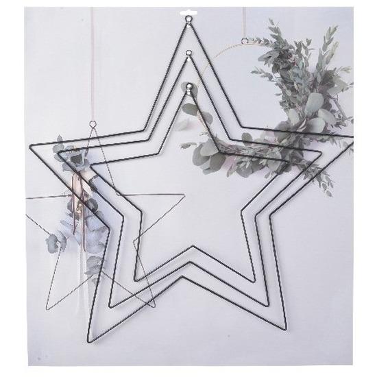 3x DIY stervormige eucalyptus/bloemen krans/hangers set zwart